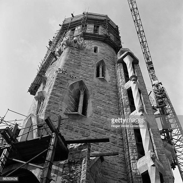 Barcelona . A tower of the votive church of Sagrada Familia in construction. 1970.