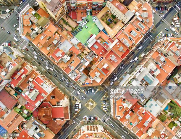 barcelona aerial photo - barcelona spain stock photos and pictures