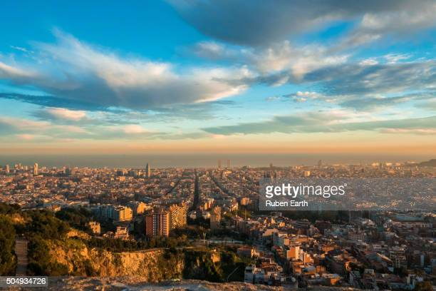 Barcelona aerial view at sunset