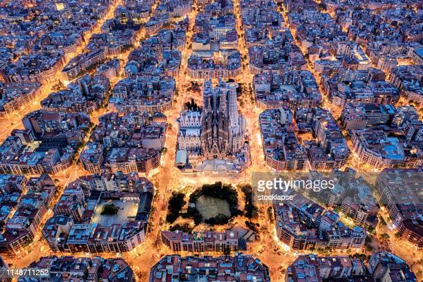 barcelona aerial view from the high - barcelona spain stock pictures, royalty-free photos & images