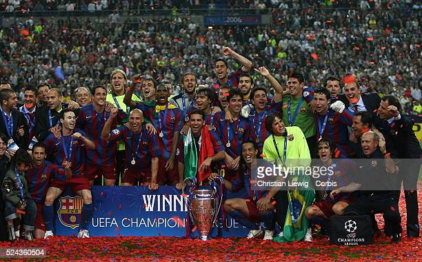 Barcelona after winning the UEFA Champions League Final between Barcelona and Arsenal in the Stade de France in St. Denis near Paris. Barcelona won...