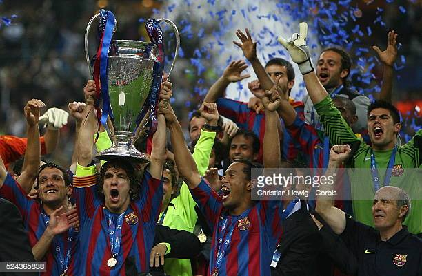 Barcelona after winning the UEFA Champions League Final between Barcelona and Arsenal in the Stade de France in St Denis near Paris Barcelona won 21