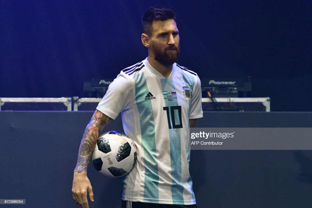 5ced4ac46 FBL-WC-2018-RUSSIA-BALL. Barcelona and Argentina forward Lionel Messi poses  with the official match ball for the 2018 World Cup football ...