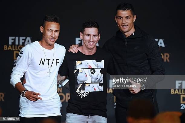 TOPSHOT FC Barcelona and Brazils forward Neymar FC Barcelona and Argentina's forward Lionel Messi and Real Madrid and Portugal's forward Cristiano...
