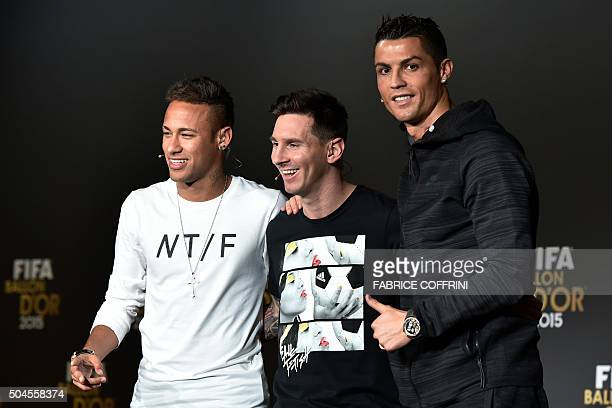 FC Barcelona and Brazils forward Neymar FC Barcelona and Argentina's forward Lionel Messi and Real Madrid and Portugal's forward Cristiano Ronaldo...
