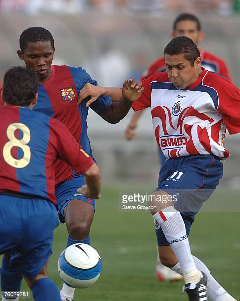 Barcelona and CD Guadalajara in action during their International Friendly at the Los Angeles Coliseum, in Los Angeles, California on August 6, 2006.