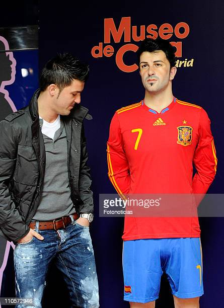 Barcelona and Spain National Team football player David Villa unveils his wax figure at the Museo de Cera on March 22 2011 in Madrid Spain