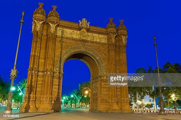 Barcelona Arc de Triomphe illuminated blue dusk Ciutadella Catalonia Spain