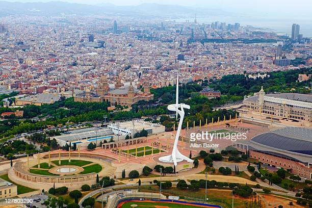 barcelona ariel view - montjuic stock pictures, royalty-free photos & images