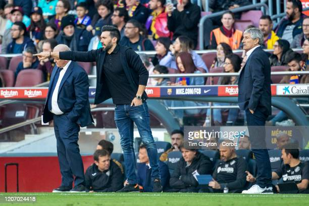 Barcelona assistant coach Eder Sarabia and head coach Quique Setien on the sideline during the Barcelona V Getafe La Liga regular season match at...