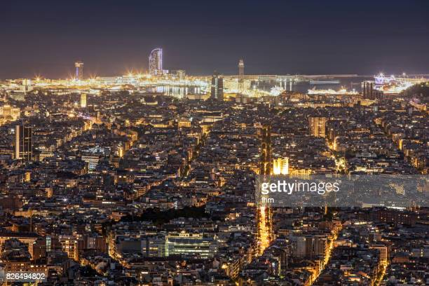 Barcelona (Catalonia) at night, the spanish capital seen from a viewpoint on the Tibidabo, the hightest mountain around Barcelona.