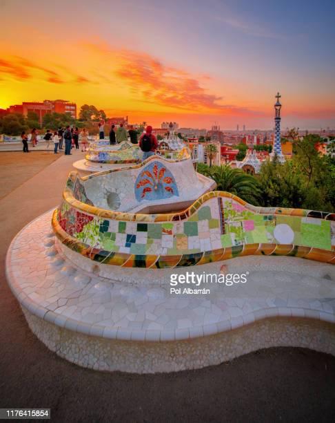 barcelona at sunrise viewed from park guell, spain - olympisk stadion bildbanksfoton och bilder