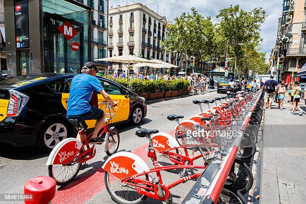 Barcelona August 2014 Viu Bicing bike rental service nonpolluting transport Docking stations on the Ramblas