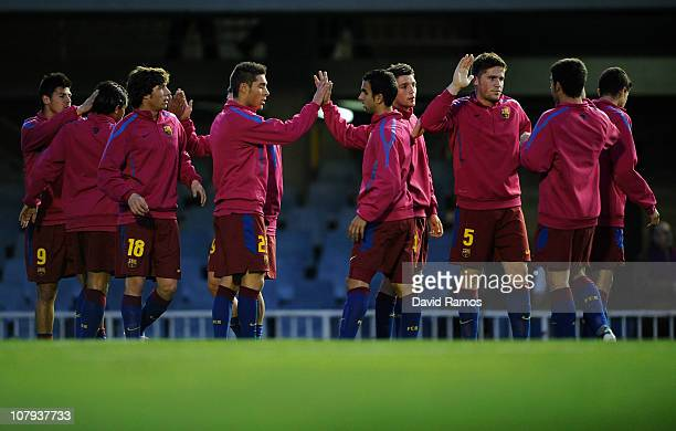 Barcelona B players are seen during the warm up prior the La Liga Adelante match between FC Barcelona B and Girona at Mini Estadi on January 8 2011...