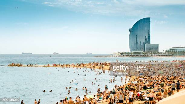 barcelona beach panorama - barcelona spain stock photos and pictures
