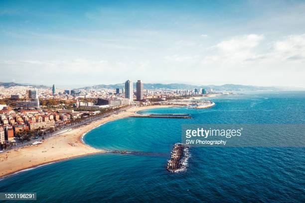 barcelona beach view - barcelona spain stock pictures, royalty-free photos & images