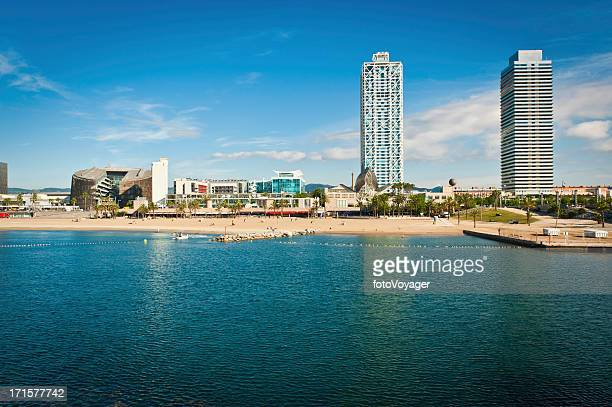 barcelona beach waterfront promenade development mediterranean ocean summer catalonia spain - waterfront stock pictures, royalty-free photos & images