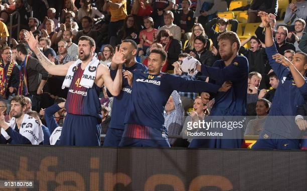 Barcelona bench players celebrates after scorer during the 2017/2018 Turkish Airlines EuroLeague Regular Season Round 21 game between FC Barcelona...
