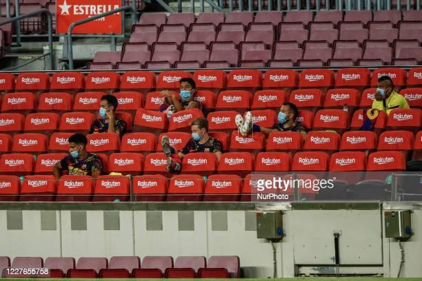 FC Barcelona bench with Luis Suarez Arthur Melo Arturo Vidal Frenkie De Jong Sergio Busquets and Ronald Araujo during La Liga match between FC...