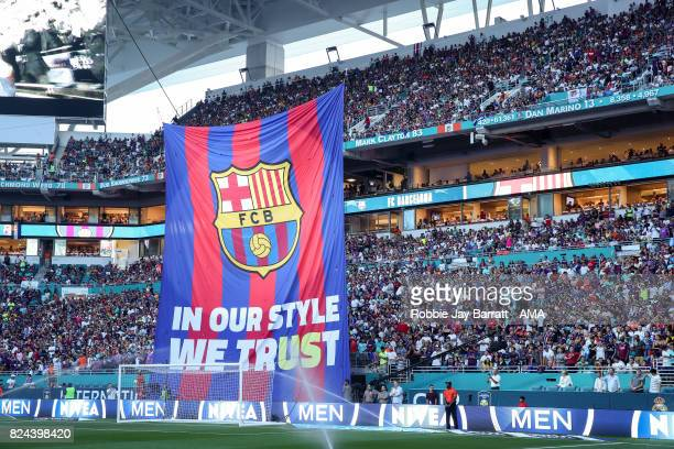 Barcelona branding during the International Champions Cup 2017 match between Real Madrid and FC Barcelona at Hard Rock Stadium on July 29 2017 in...