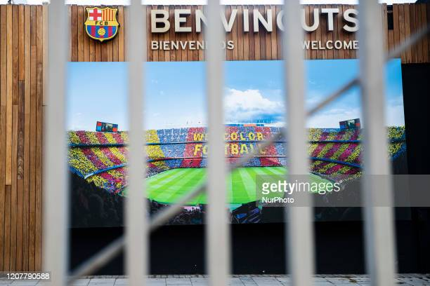FC Barcelona Camp Nou Stadium closed to the public after the state of alarm imposed by the spanish government and measure of lockdown the population...