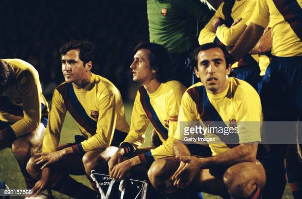 Barcelona captain Johan Cruyff looks on before the UEFA Cup 3rd round 1st leg match between Ipswich and Barcelona at Portman Road on November 23 1977...