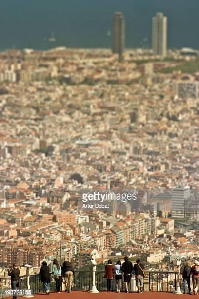 "Barcelona Catalonia Europe people person view oriel city cityscape towers skyscrapers ""mediterranean sea"" building construction architecture Tibidabo..."