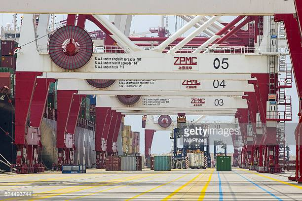 Barcelona Catalonia Spain August 18 Trucks and containers of goods at the port of Barcelona Freight File image of June 6 2014