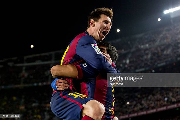 Barcelona Catalonia Spain Fabruary 11 2015 Leo Messi of Barcelona cellebrating his score during the spanish Copa del Rey match between FC barcelona...