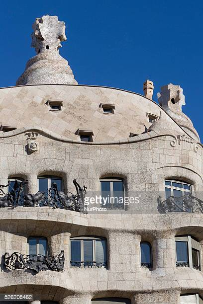 Barcelona Catalonia Spain February 1 Datail of ventilation towers knowed as The Soldiers or The Martians of the Casa Mila knowed as La Pedrera of...