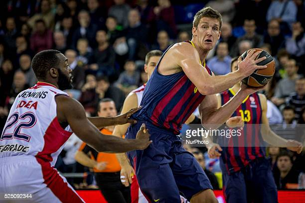 Barcelona Catalonia Spain January 23 2015 Justin Doellman of Barcelona and Charles Jenkins of Belgrade in action during the 20142015 Turkish Airlines...