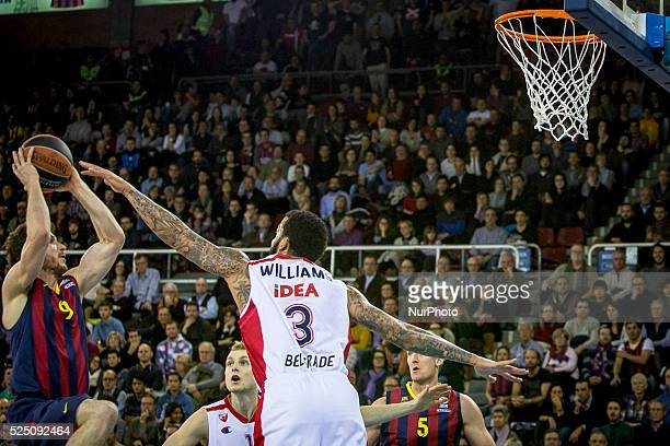 Barcelona Catalonia Spain January 23 2015 Marcelinho Huertas of Barcelona and Marcus Williams of Belgrade in action during the 20142015 Turkish...