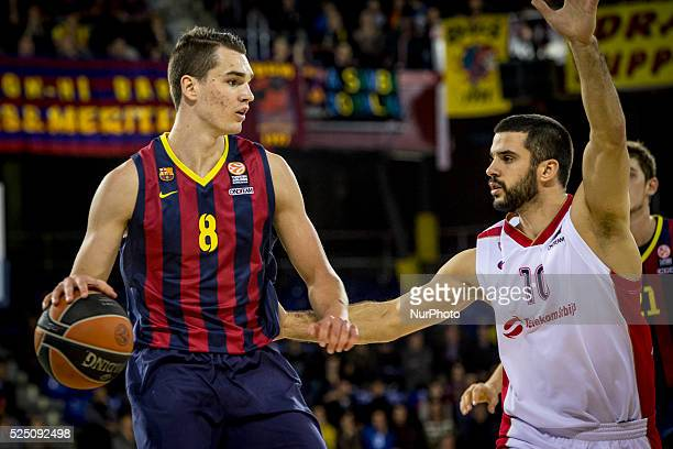 Barcelona Catalonia Spain January 23 2015 Mario Hezonja of Barcelona and Branko Lazic of Belgrade in action during the 20142015 Turkish Airlines...