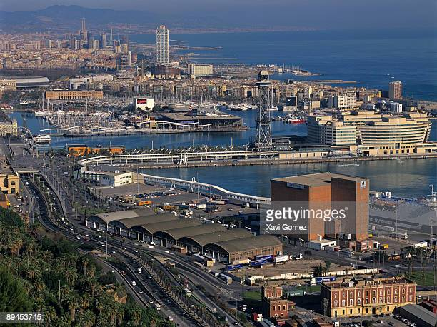 Barcelona Cataluna Overlooking from to Montjoic Port World trade caentre Ronda litoral