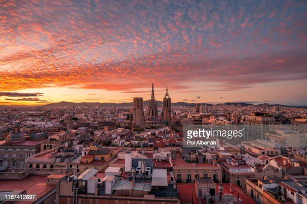 barcelona cathedral at sunset - barcelona spain stock pictures, royalty-free photos & images