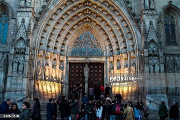 Barcelona Cathedral facade view