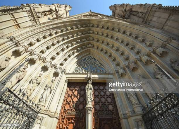 Barcelona cathedral's tympanum (entrance) in Barcelona, Catalonia, Spain