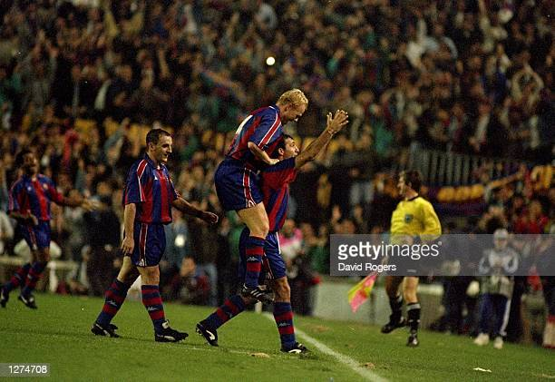 Barcelona celebrate after scoring a goal during the European Cup against Manchester United at Noucamp Stadium in Barcelona Spain Mandatory Credit...