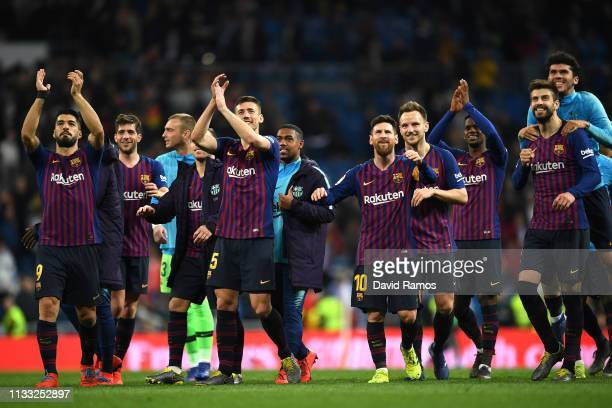 Barcelona celebrate victory during the La Liga match between Real Madrid CF and FC Barcelona at Estadio Santiago Bernabeu on March 02 2019 in Madrid...