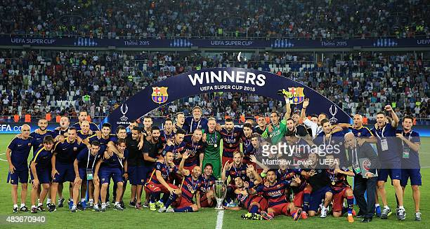 Barcelona celebrate winning the UEFA Super Cup after defeating Seville FC during the UEFA Super Cup between Barcelona and Sevilla FC at Dinamo Arena...