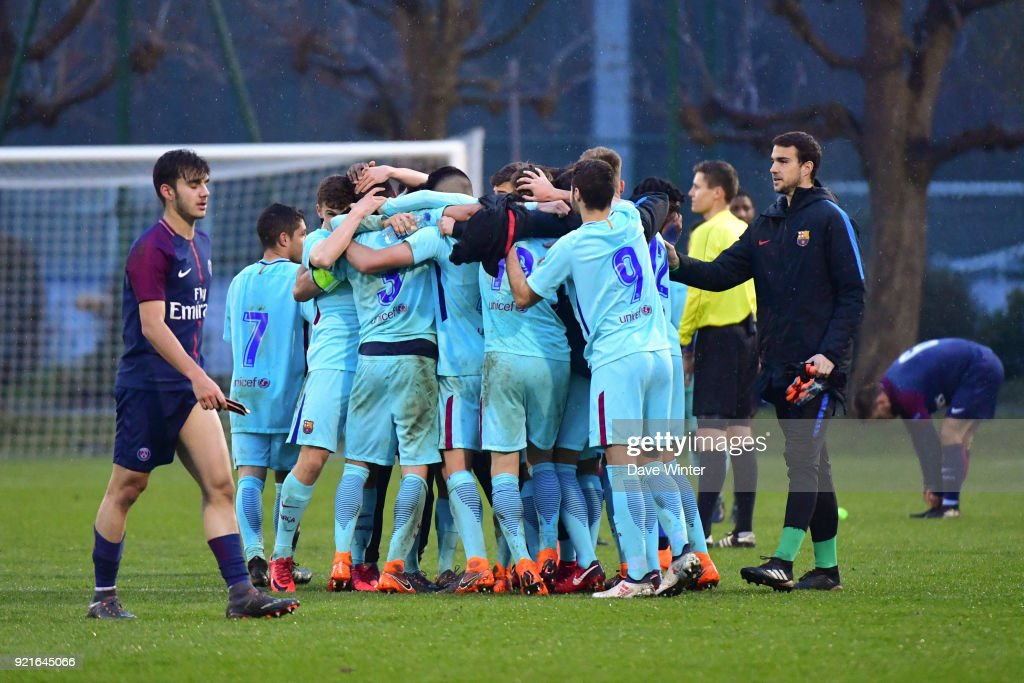 Barcelona celebrate winning the UEFA Youth League match (round of 16) between Paris Saint Germain (PSG) and FC Barcelona, on February 20, 2018 in Saint Germain en Laye, France.
