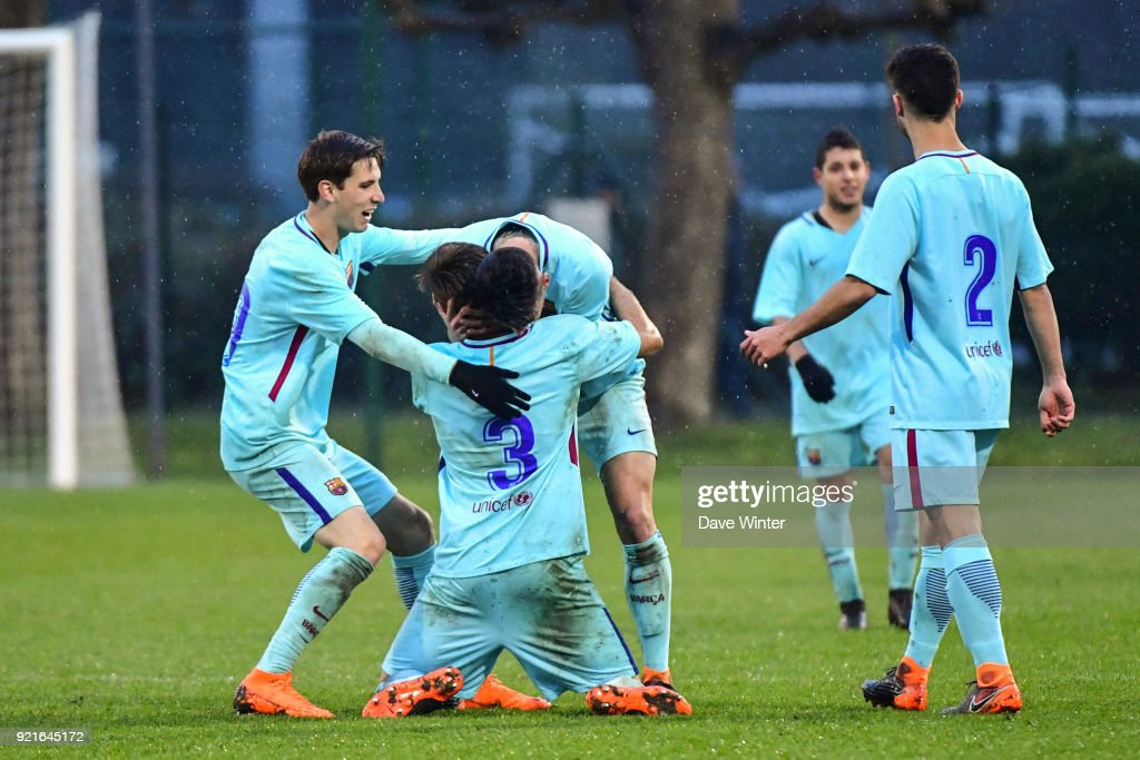 Barcelona celebrate winning the UEFA Youth League match (round of 16) between Paris Saint Germain (PSG) and FC Barcelona, on February 20, 2018 in Saint Germain en Laye, France.