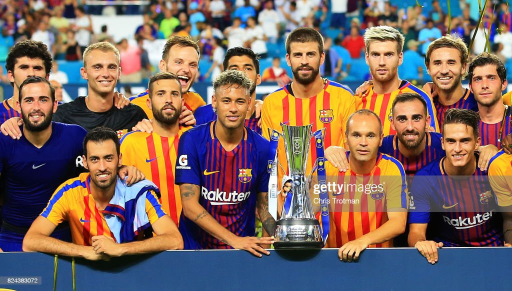 Barcelona celebrate with the trophy after defeating Real Madrid 3 to 2 in their International Champions Cup 2017 match at Hard Rock Stadium on July 29, 2017 in Miami Gardens, Florida.