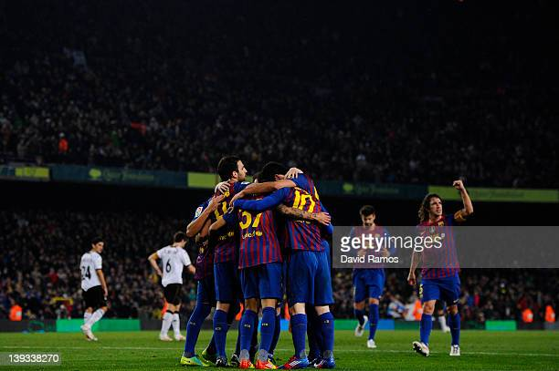 Barcelona celebrates after Lionel Messi of FC Barcelona scored his team's third goalduring the La Liga match between FC Barcelona and Valencia CF at...