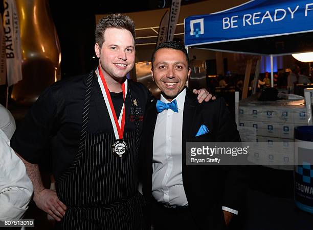Barcelona CEO Alan Semsar gives Charlie Palmer Steak Executive Chef Thomas Griese the Las Vegas Food Wine Festival Top Chef award during the Las...