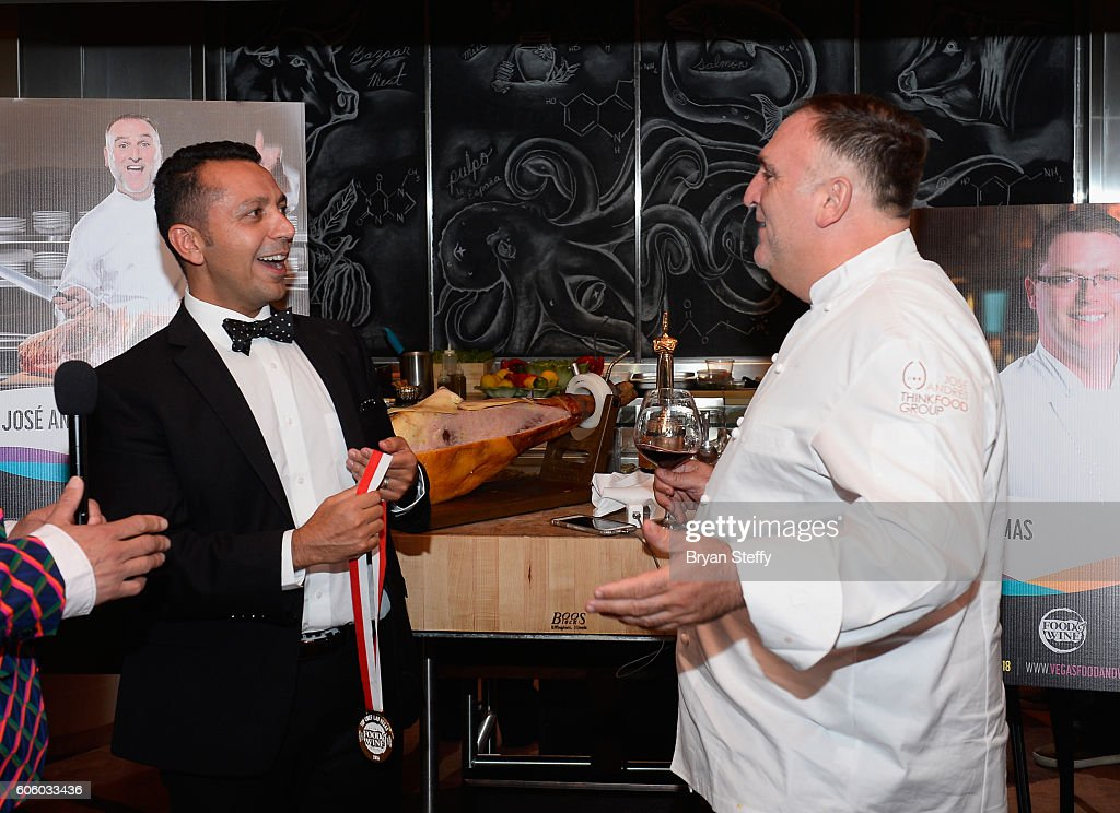 Barcelona CEO Alan Semsar (L) gives the Las Vegas Food & Wine Festival's Chef of the Year award to chef Jose Andres during the Las Vegas Food & Wine Festival at Bazaar Meat at SLS Las Vegas Hotel on September 15, 2016 in Las Vegas, Nevada.