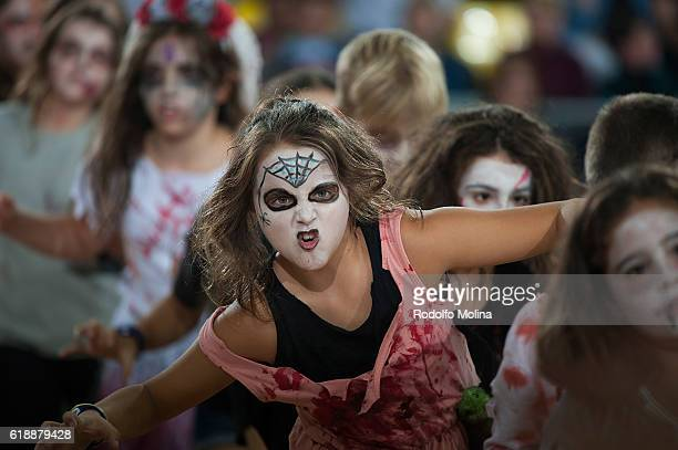 Barcelona children dance in Halloween make up during the half time at 2016/2017 Turkish Airlines EuroLeague Regular Season Round 4 game between FC...
