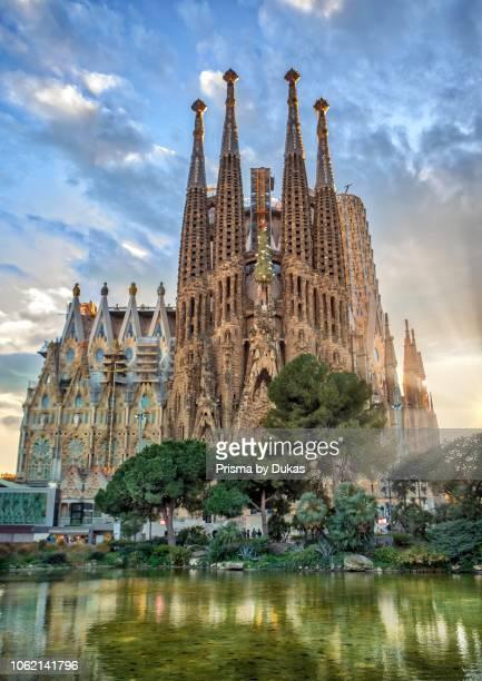 Barcelona City Gaudi architect Sagrada Familia Temple spain sunset