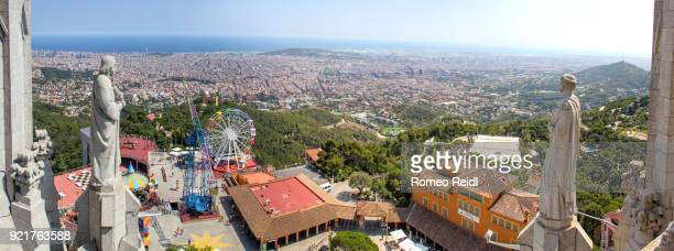 barcelona city panorama - viewed from the sagrat cor church 1 - sagrat cor stock pictures, royalty-free photos & images