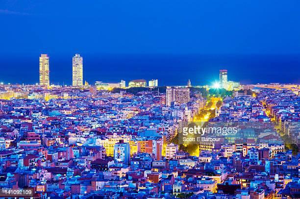 Barcelona cityscape towards La Rambla